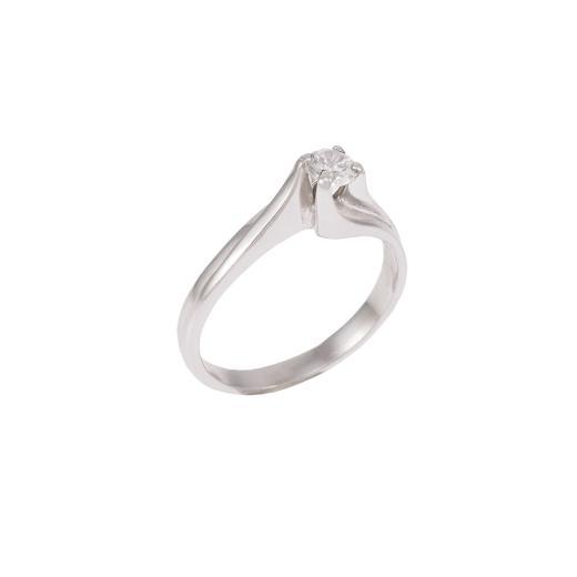 Δακτυλίδι  μονόπετρο σε λευκό  χρυσό 14 ΚΤ με ζιργκόν