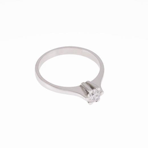 Δακτυλίδι  μονόπετρο σε ι λευκό  χρυσό 14 ΚΤ με  ζιργκόν