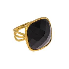 Δακτυλίδι  σε ασήμι επιχρυσωμένο με μαύρη συνθετική πέτρα