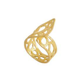 """Δακτυλίδι   """" GEOMETRIC SHAPE """" διάτρητο σε ασήμι επιχρυσωμένο με υπερυψωμένες επιφάνειες"""