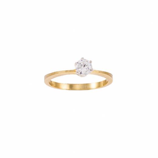 Δακτυλίδι ματ μονόπετρο σε κίτρινο και λευκό χρυσό 18ΚΤ με διαμάντι 17ct.