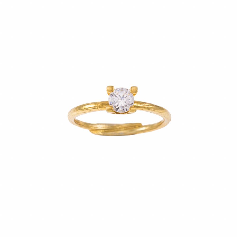 Δακτυλίδι μονόπετρο σε κίτρινο χρυσό 18ΚΤ με διαμάντι 0,35ct.