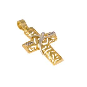 Cross in yellow and white gold 14 kt with zirgon.