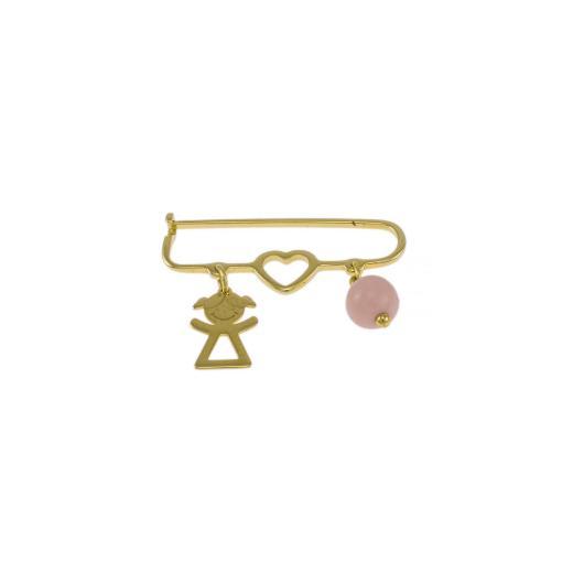 Καρφίτσα σε  κίτρινο χρυσό 14ΚΤ  με κοριτσάκι ,καρδούλα και μια ροζ πέτρα