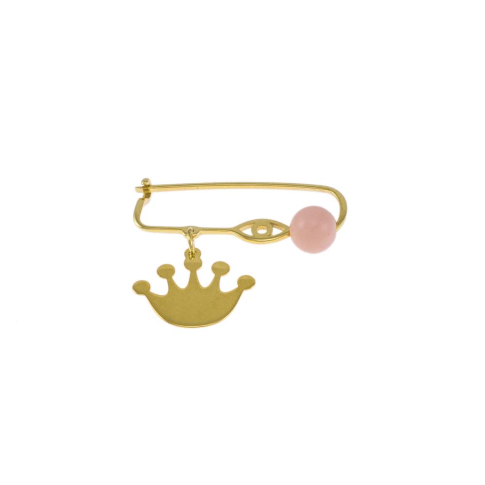 Καρφίτσα σε  κίτρινο χρυσό 14ΚΤ με στέμμα ,ματάκι και μια ροζ πέτρα.