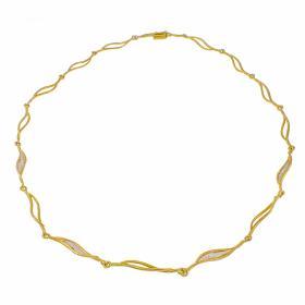 """Κολιέ """"WAVES"""" σε κίτρινο 14 ΚΤ χρυσό με ζιργκόν."""