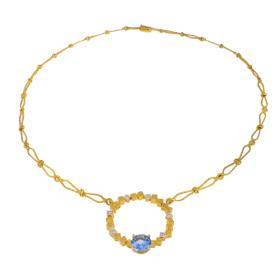 """Κολιέ   """"CUBES"""" σε κιτρινό χρυσό  14ΚΤ με  ζιργκόν και άκουαμαριν."""