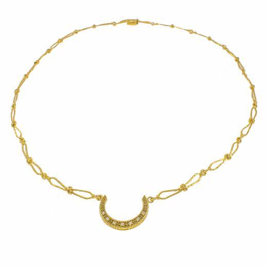 """Κολιέ """"LUCKY"""" σε κίτρινο 14 ΚΤ χρυσό με ζιργκόν"""