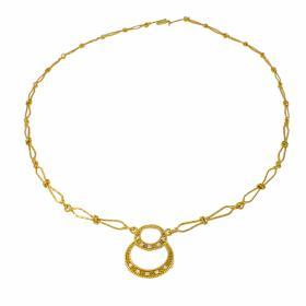 """Κολιέ """"LUCKY"""" σε κίτρινο  χρυσό 14 ΚΤ  με ζιργκόν."""