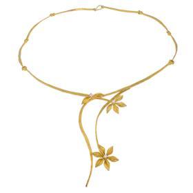 """Κολιέ """"FLOWERS""""σε  κίτρινο χρυσό 14ΚΤ με ζιργκόν"""