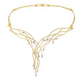 """Κολιέ """"LINES""""  σε  κίτρινο χρυσό 18ΚΤ με διαμάντια  0,18ct"""