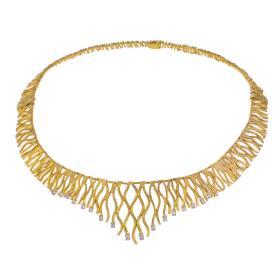 """Κολιέ """"LINES""""  σε  κίτρινο χρυσό 14ΚΤ με ζιργκον"""