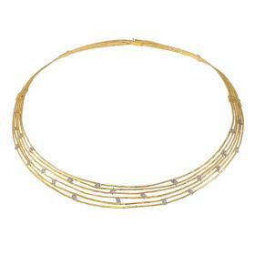 """Κολιέ """"LINES"""" σε κίτρινο 14 ΚΤ χρυσό με ζιργκόν"""