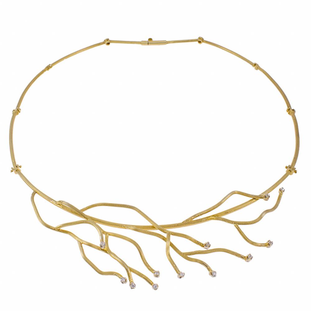 """Κολιέ """"CORAL""""  σε κίτρινο 14 ΚΤ χρυσό με ζιργκόν"""