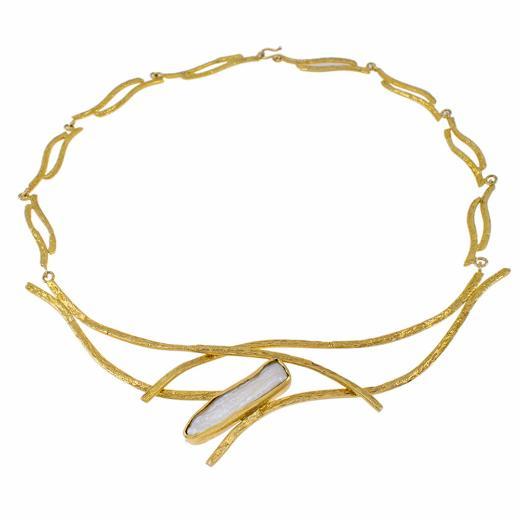 """Κολιέ """"RIBBON"""" σε κίτρινο 14 ΚΤ χρυσό με μαργαριτάρι"""
