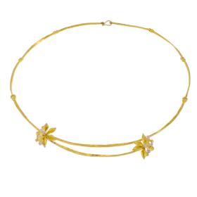 """Κολιέ  """"FLOWERS"""" σε  κίτρινο χρυσό 14ΚΤ  με ζιργκόν"""