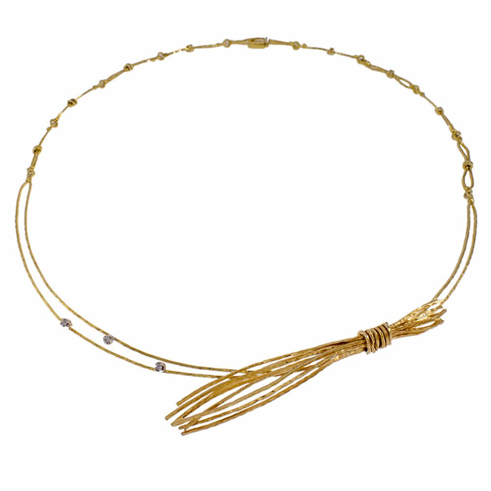 """Κολιέ 'ZEA""""  σε κίτρινο  χρυσό 14 ΚΤ με ζιργκόν"""