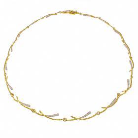 """Κολιέ """"RAYS"""" σε κίτρινο χρυσό  14 ΚΤ με ζιργκόν σε λευκόχρυσες επιφάνειες."""