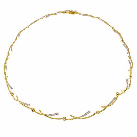 """Κολιέ """"RAYS"""" σε κίτρινο 14 ΚΤ χρυσό με ζιργκόν"""