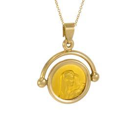 Φυλαχτό Παναγία σε χρυσό και λευκόχρυσο 14ΚΤ.   ME000564
