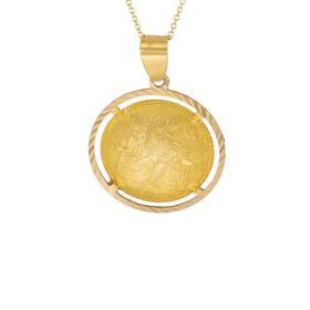 Φυλαχτό Αγιοκωνσταντινάτο σε κίτρινο χρυσό 14ΚΤ