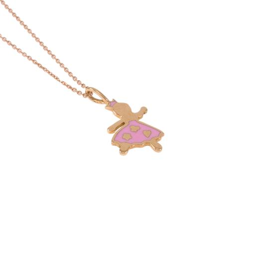 Μενταγιόν πριγκίπισσα με ροζ σμάλτο  σε ροζ 14ΚΤ χρυσό.