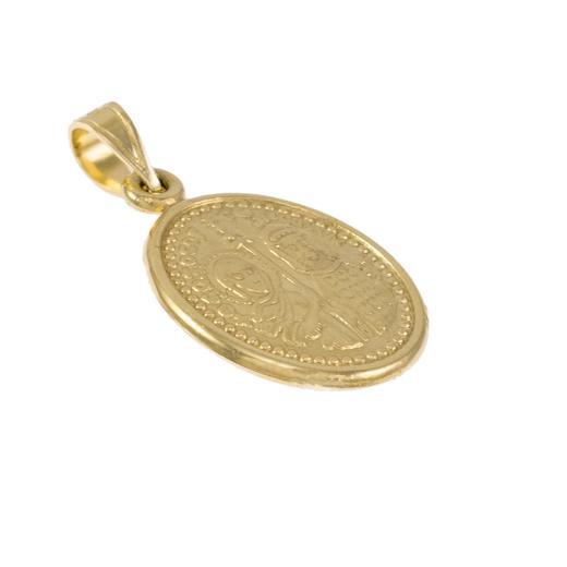 Φυλαχτό διπλής όψης Χριστός και έν του τις νίκα σε λευκό και κίτρινο χρυσό 14ΚΤ.