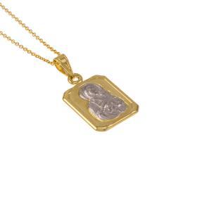 Φυλαχτό  Παναγία  σε χρυσό και λευκόχρυσο 14ΚΤ   ME004664
