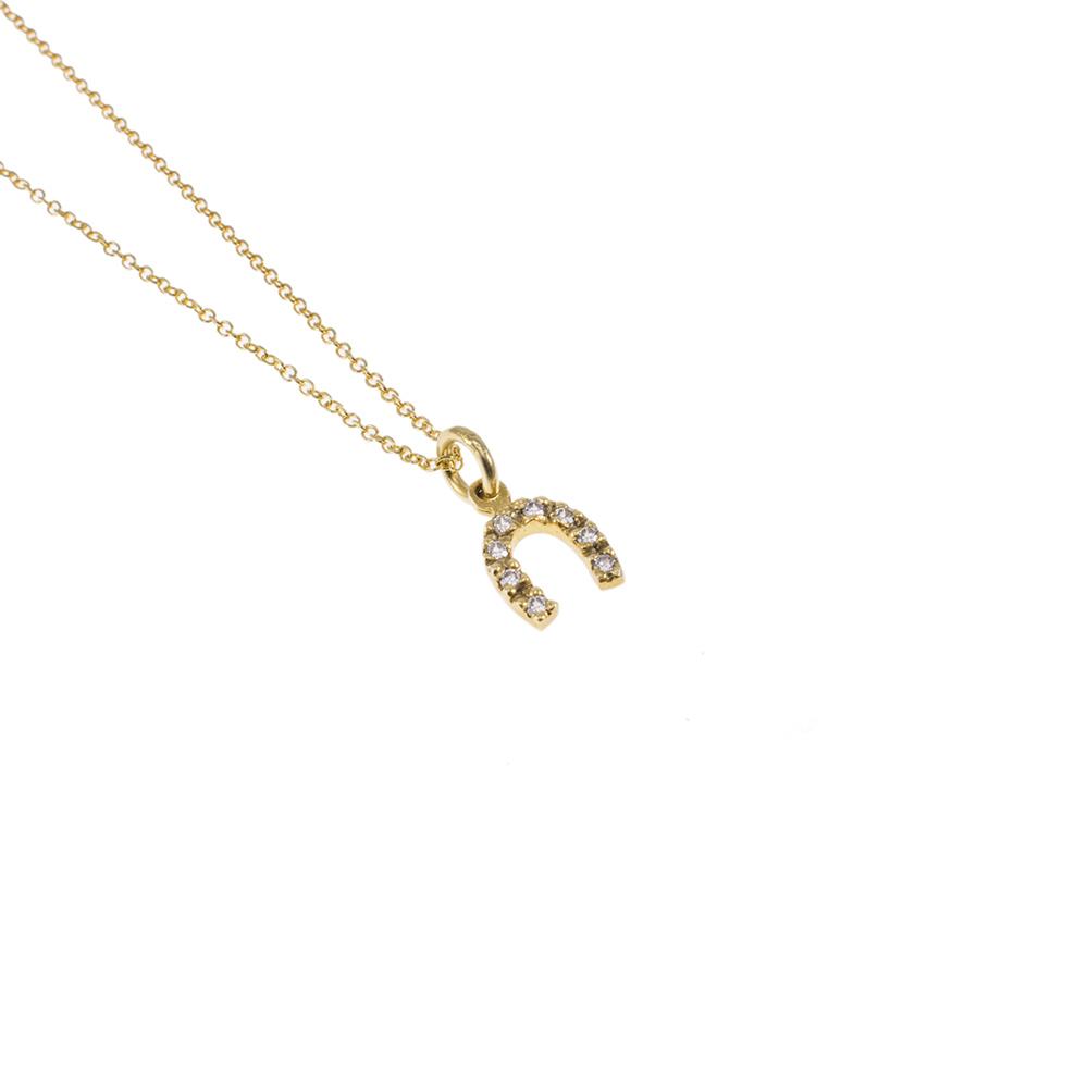 """Μενταγιόν """"LUCK""""  σε κίτρινο 14ΚΤ χρυσό με ζιργκόν."""