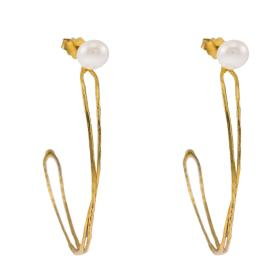 "Earrings ""LINKS"" with ""PEARLS"" gold 14kt."