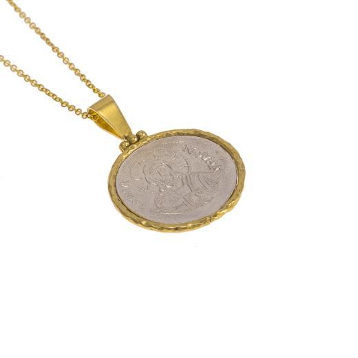 Φυλαxτό αγιοκωνσταντινάτο ασημένιο με χρυσό κούμπωμα 14ΚΤ.