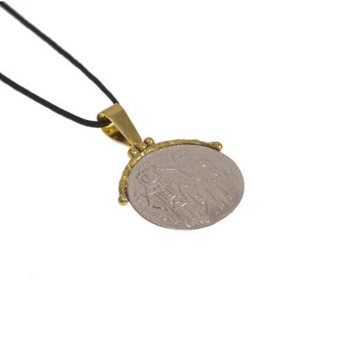 Φυλαxτό αγιοκωνσταντινάτο ασημένιο με χρυσό κούμπωμα 14ΚΤ