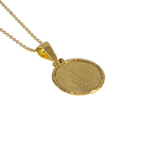 Φυλαχτό αγιοκωνσταντινάτο ασημένιο με χρυσό κούμπωμα 14ΚΤ.