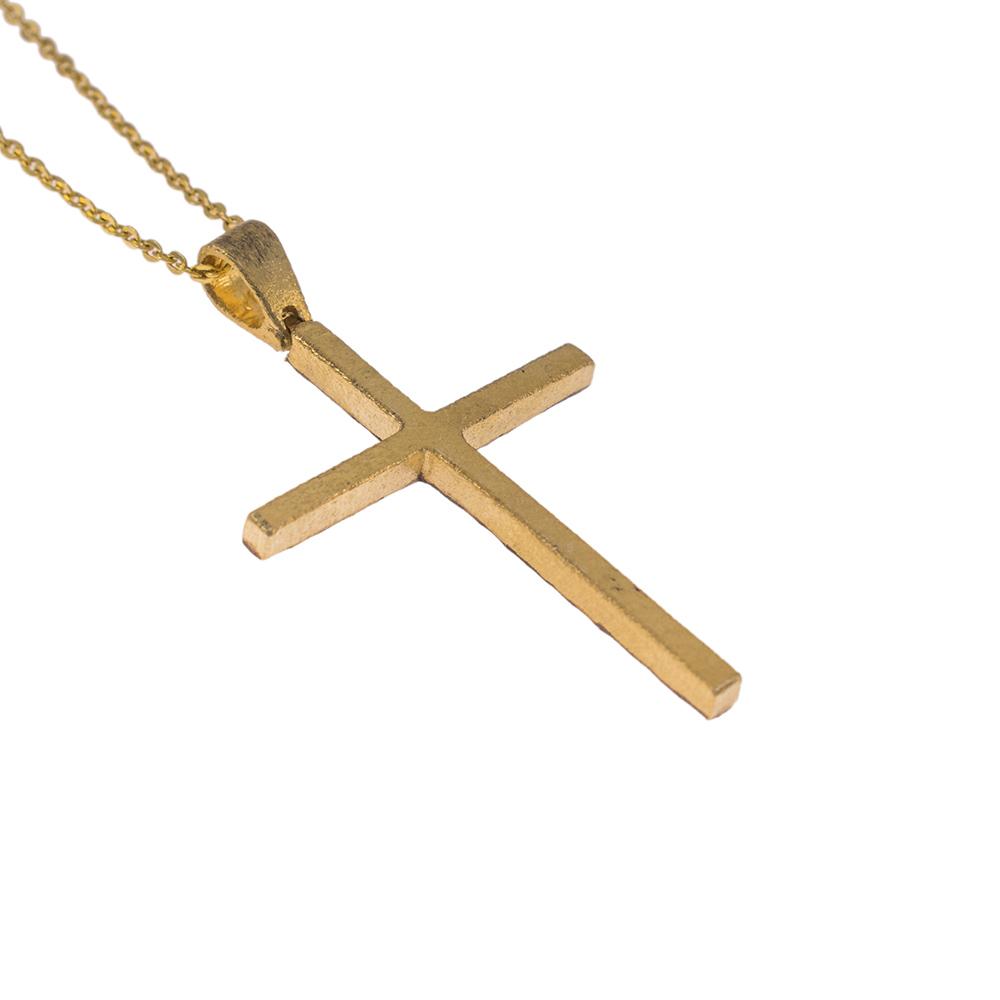 """Σταυρός """"STONE"""" σε κίτρινο χρυσό 14 ΚΤ  διπλής όψης"""