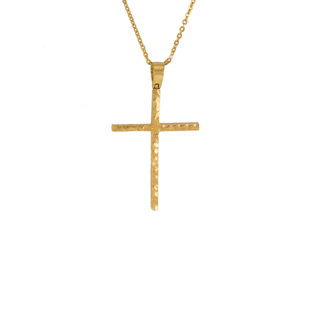 """Σταυρός """"LAVA"""" σε κίτρινο χρυσό 14 ΚΤ  διπλής όψης"""