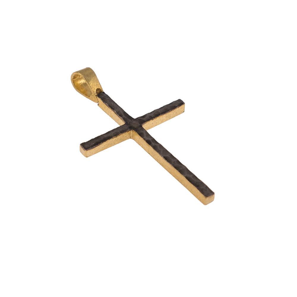 """Σταυρός  """"LAVA"""" σε κίτρινο χρυσό 14ΚΤ διπλής οψης με μάυρη επιροδιωμένη επιφάνεια."""