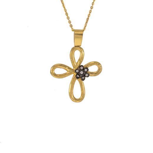"""Σταυρός """"DAISIES"""" σε κίτρινο χρυσό 14Κ με ζιργκόν πάνω στο λουλούδι  με μαύρη επιροδιωμένη βάση"""