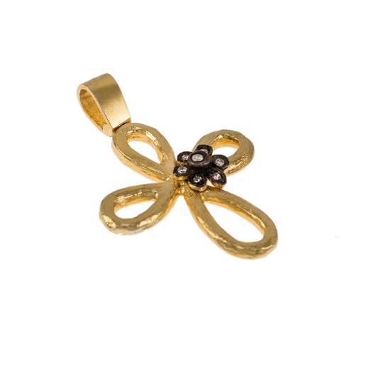"""Σταυρός """"DAISIES"""" σε κίτρινο χρυσό 14Κ με ζιργκόν πάνω σε μαύρη επιροδιωμένη βάση"""