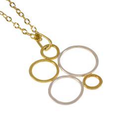"""Μενταγιόν """"CYCLE"""" σε ασήμι και ασήμι  επιχρυσωμένο      ΜΕ005798"""