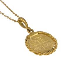 Φυλαχτό Αγιοκωνσταντινάτο ασήμιi επιχρυσωμένο  σε στεφάνι κίτρινο χρυσό 14ΚΤ για αγόι