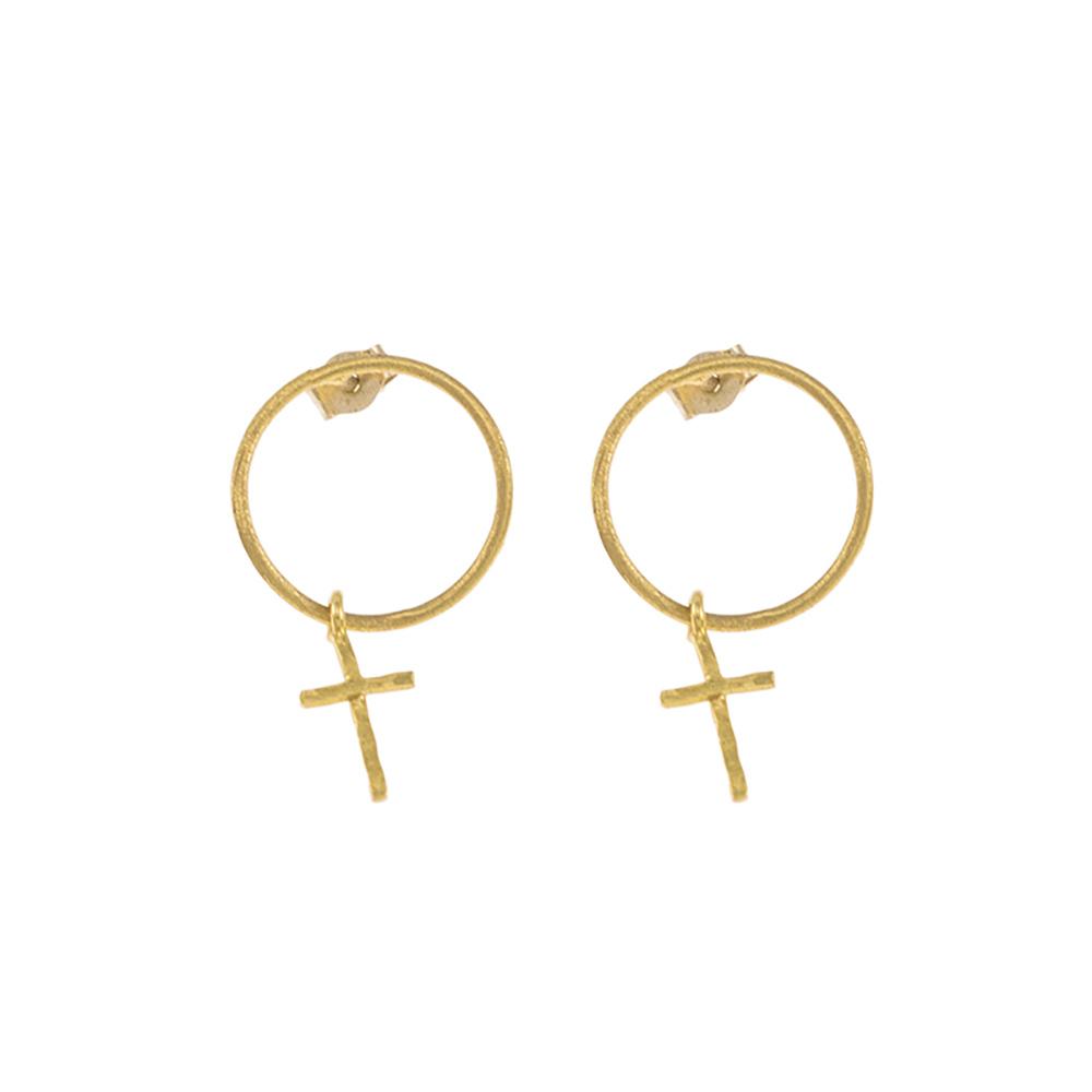 """Σκουλαρίκια  """"CYCLES"""" και """"CROSS"""" με στοιχείο σταυρό σε κίτρινο χρυσό 14ΚΤ."""