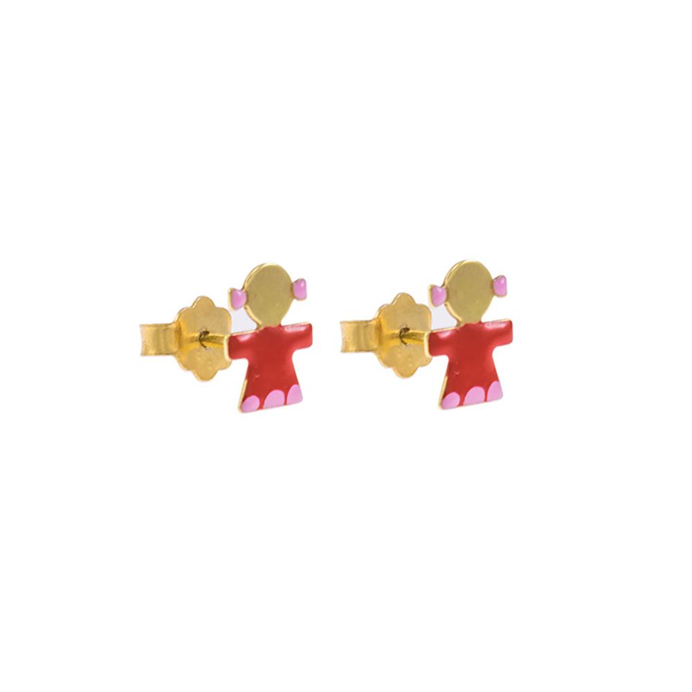 Σκουλαρίκια κοριτσάκια με σμάλτο σε κίτρινο χρυσό 14ΚΤ