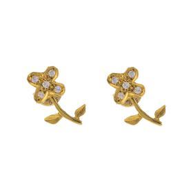 Σκουλαρίκια  λουλούδια σε κίτρινο χρυσό 14ΚΤ με  ζιργκόν   SK002115