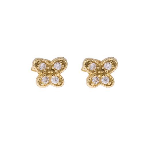 Σκουλαρίκια  πεταλούδα σε κίτρινο χρυσό 14ΚΤ με  ζιργκόν
