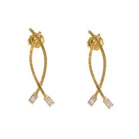 """Σκουλαρίκια """"LINES"""" σε κίτρινο χρυσό 14ΚΤ με  ζιργκόν."""