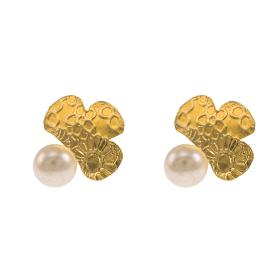 """Σκουλαρίκια """"DAISIES"""" σε κίτρινο χρυσό 14ΚΤ με μαργαριτάρια."""