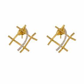 Σκουλαρίκια ''SQUARE'' σε κίτρινο χρυσό 14ΚΤ.