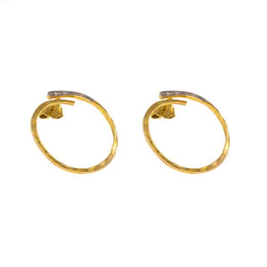 """Σκουλαρίκια """"LINKS"""" σε κίτρινο χρυσό 14ΚΤ  με  σφυρήλατη λευκόχρυση επιφάνεια"""