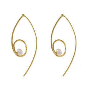 "Earrings""LINKS"" with  ""PEARLS"" gold14kt"
