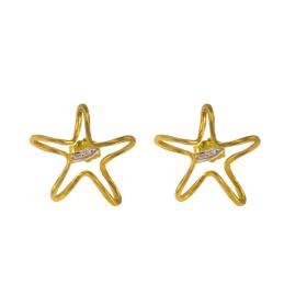 """Σκουλαρίκια """"STAR"""" σε κίτρινο χρυσό 14ΚΤ  με μια λευκόχρυση   σφυρήλατη επιφάνεια"""